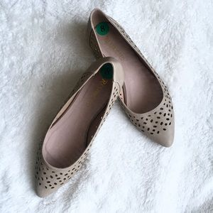 Restricted Nude Laser Cut Ballet Flats